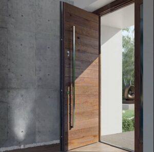 drzwi wejściowe, drzwi zewnętrzne, drewniane, antywłamaniowe, energooszczędne, z czytniniem twarzy, czytnikiem linni papilarnych, dębowe, z pochwytem